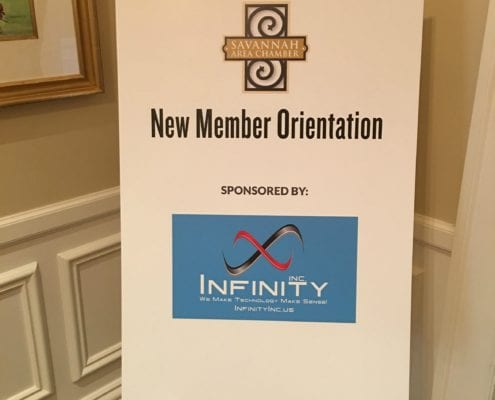 New Member Orientation sign for Savannah Chamber