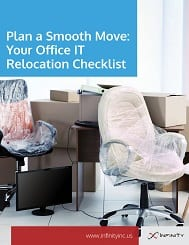 office chair wrapped in packing tape with boxes for office IT checklist