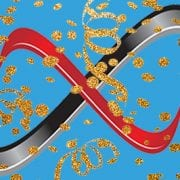 Infinity logo with gold confetti celebrating 19 years