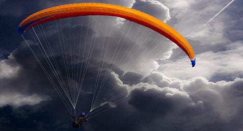 parachute through stormy skies for disaster preparation