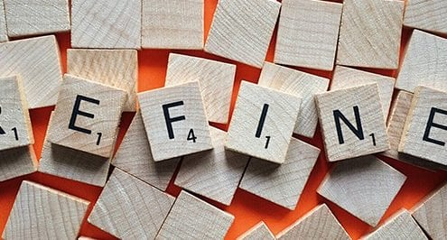 scrabble letters spelling refine - describes Kaizen and how to continuously improve your business