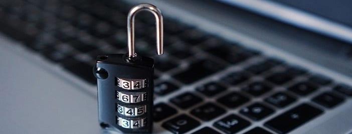 lock on keyboard showing antivirus software