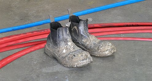 the infinity difference with workboots and computer cables