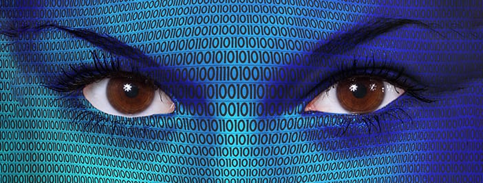 eyes behind code showing data privacy