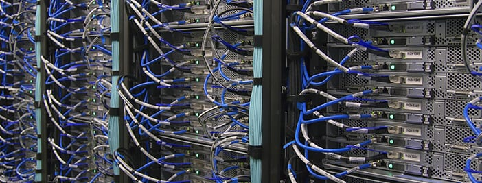 line of servers and cables to decide