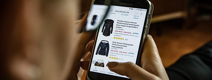 person shopping online on mobile