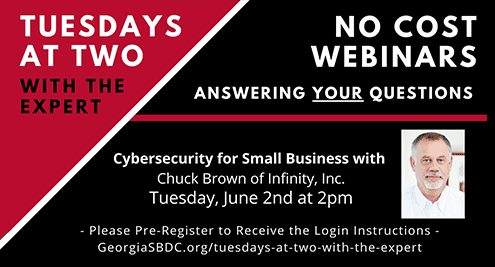 Cybersecurity webinar information from UGA SBDC