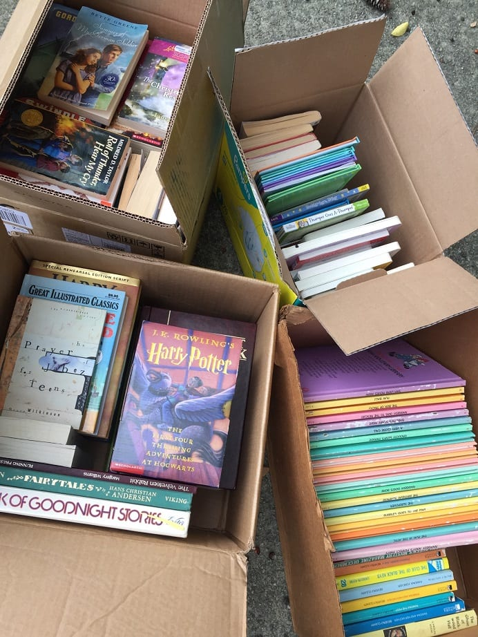 4 boxes of books for Million Book Challenge