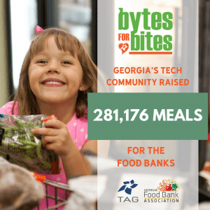 happy girl with food shares technology companies Bytes for Bites contest results