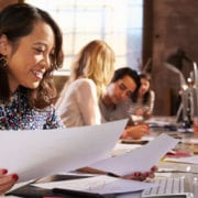 Woman working without being stressed due to workflow automation