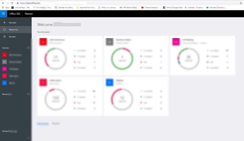 Microsoft Planner sample task view